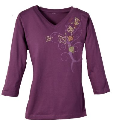 Decorated with leaves, swirls and a touch of shiny foil treatment. 100% cotton. Imported. Sizes: S-2XL. Colors: Olive, Eggplant. - $9.88