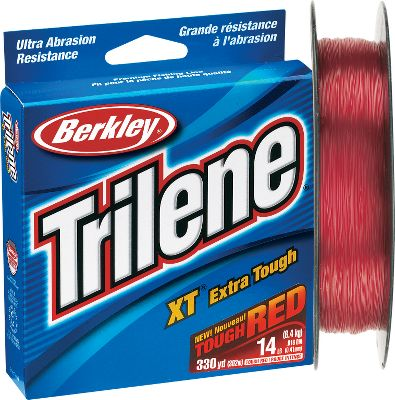 Fishing If you fish thick, boggy areas, then you need an abrasion-resistant line that won't break every time you get hung up in heavy cover. Berkley's Trilene XT Red line gives you the superior strength needed to fish dense weedlines, rocky shores, flooded timber and submerged structure with confidence. Developed using an innovative new formula that gives it unbeatable abrasion resistance and strength but still makes it easy to tie, it will stand up to abuse from rough and sharp objects. It's perfect for baitcasters, but it also works well on spinning reels. Plus, it gives serious walleye and bass fishermen the visibility they need for a wide range of presentations. Color: Red. - $4.88