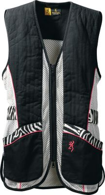 Hunting Cut to fit women with unique zebra-print trim, these vests deliver superior recoil cushioning with full-length cotton twill shooting patches and integrated REACTAR G2 pad pockets (pads sold separately) on both shoulders. Polyester mesh body allows air to circulate. Bellows shell pockets and large back pocket for empties or other gear. Inside security pocket stores phone or other valuables. Two-way front zipper. Side tab adjustment for a proper fit. Bartack stitching at all stress points. 100% cotton. Imported. Sizes: S-2XL. Color: Black/Zebra. Size: SMALL. Color: Black/Zebra. Gender: Female. Age Group: Adult. Pattern: Zebra. Material: Cotton. - $69.99