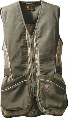 Hunting Cut to fit women, these Browning Womens Sporter II Shooting Vests deliver superior recoil cushioning with full-length 60/40 cotton/polyester twill shooting patches and integrated REACTAR G2 pad pockets (pads sold separately) on both shoulders. Polyester mesh body allows air to circulate. Bellows shell pockets and large back pocket for empties or other gear. Inside security pocket stores phone or other valuables. Two-way front zipper. Side tab adjustment for a proper fit. Bartack stitching at all stress points. 60/40 cotton/polyester. Imported. Womens sizes: S-2XL. Colors: Sage/Pink, Brown/Pink, Sage/Realtree APC (Pink). Size: XL. Color: Sage/Realtree Ap Pnk. Gender: Female. Age Group: Adult. Material: Polyester. - $64.99