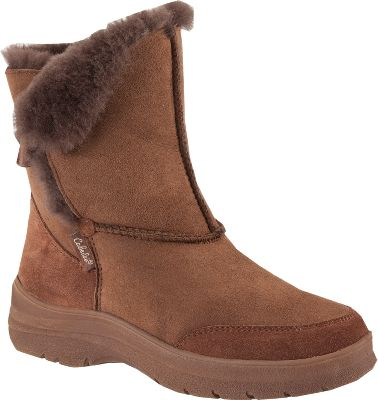 The incomparable plush comfort of genuine shearling wool next to your feet is a real treat. Shearling is a superior insulator with inherent temperature management properties that keep feet dry and warm. It also wicks perspiration away when weather warms up. These boots are made using real double-faced shearling. Even the cozy footbeds are shearling-lined as well. Nonmarking, slip-resistant rubber outsoles for sure footing. Imported. Women's sizes: 6-10 medium width.Colors: Chestnut, Espresso. - $49.88