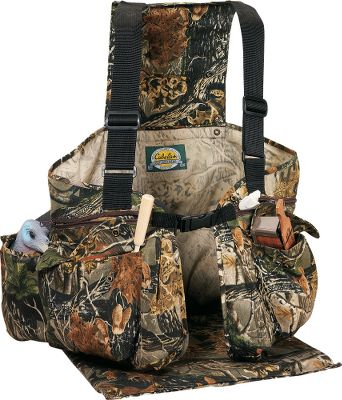 Hunting Our best value in a full-featured turkey vest. Padded back with fold-down seat assures fidget-free comfort. Six large pockets, including two large zipper pockets with call pouches keep you organized during the hunt. Bellows pockets with shell loops. Zip-open game bag. Blaze orange snap-on panels. Quiet cotton/polyester construction with adjustable shoulder straps. Imported. Chest sizes: M-2XL. Camo patterns:Seclusion 3D,Mossy Oak New Break-Up. - $24.88