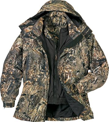 Hunting Some hunting conditions can change fast. Morning can be cold with a heavy frost and freezing temperatures and quickly warm up to the point of being hot by mid-day. Keep up with these changes with our versatile Dry-Plus Dri-Fowl Series 4-in-1 Parka. The parka has two specialized chest pockets that keep your calls accessible, warm and dry. Two cargo pockets with shell loops and snap-closure flaps. Zip-in, reversible Thinsulate -insulated liner for added warmth. Camouflage water- and wind-resistant polyester on one side. Solid brown nylon on the other. Slash pockets on both. Interior has a zippered security pocket for wallets or licenses. Insulated removable visored hood with multiple adjustment points for a custom fit. The heavy-duty zippered front with storm flap and handwarmer pockets round out this tough, versatile hunting parka. Imported.Chest sizes: M-4XL.Camo patterns: Mossy Oak Duck Blind , Advantage MAX-4 HD . - $99.88