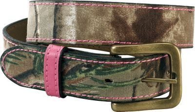 "Hunting Cotton twill belt features Realtree AP camo with pink leather loop and pink stitching for contrast. Harness buckle with antique brass finish. Made in USA.Width: 1-1/4"".Sizes: S-XL. Camo pattern: Realtree AP with pink highlights. - $7.88"