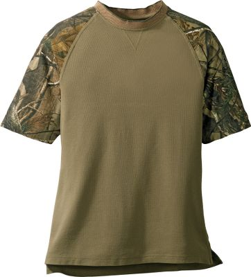 Hunting Classic styles featuring Realtree AP HD accents on the raglan sleeves, placket and hem. The drop-tail hem stays tucked in. Birdseye Jacquard collar and cuffs. Crafted of 100% cotton. Imported. Sizes: M-3XL. Colors: Black, Khaki, Natural. - $24.99