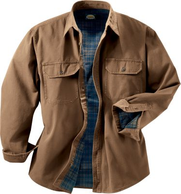 The long-wearing dependability and rugged good looks of our Stonewash Canvas shirts have made them a customer favorite for years. Now you can enjoy everything that has made these shirts a perennial best seller, plus the additional warmth of a 4.8-oz. flannel lining. Just like the originals, the outer shell is constructed of wear-resistant, heavyweight cotton canvas that will stand up to years of wash and wear. Imported. Sizes: S-5XL. For men 58 to 6. Colors: Buckskin, Sage, Antique Blue, Forest. Type: Long-Sleeve Shirts. Size: Large. Size Large. Color Forest. - $29.88