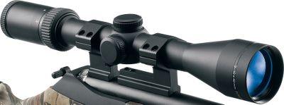 Hunting Improve the downrange accuracy of your muzzleloader using a scope designed to put you precisely on target out to 250 yards. The trajectory-compensating reticle takes the guesswork out of crosshair placement when using todays most popular black-powder bullets. All you have to do is sight in the crosshairs at 100 yards at 10X, determine distance to your target, and use the appropriate crosshair. At a distance of 100 yards, the ballistic reticle center crosshair is precisely calibrated to match bullet drop. The next bar down is calibrated for a drop at 150 yards and the lowest bar down for 250 yards. Loading data is based off of 250-grain black-powder sabots and 150 grains of Triple Seven FFg powder. Multicoated lenses deliver superior light transmission for clear images, even in low light. Hand-turn low-profile 1/4-MOA click adjustments. Waterproof, fogproof and shockproof. Lifetime warranty. Weight (oz.): 11.6. Type: Muzzleloader Scopes. Tube Diameter: 1 in.. Reticle: PowderhornEXT. Power: 3-10. Objective Diameter (mm): 40. Length (in.): 12.2. FOV @ 100 yds. (ft.): 31.5. Finish: Matte. Eye Relief (in.): 3.75. Power 3-10x40m Ext. - $99.99