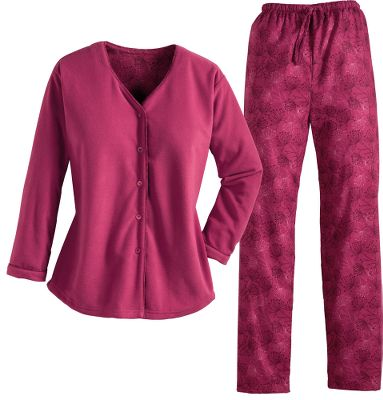 Drift off to sleep or enjoy lounging in the unrestricted comfort of microfleece and 100% Portuguese flannel pajamas. The bottoms, made of cotton Portuguese flannel, are brushed on both sides for cloudlike softness. A relaxed elastic waistband and drawstring ensure a perfect fit. The tops nonpilling and brushed exterior is made of circular-knit polyester microfleece. Oversized fit to be extra cozy. Features stylishly contrasting facings and a four-button front closure. Imported.Sizes: S-2XL.Colors: Rhubarb, Twilight Purple. - $48.00