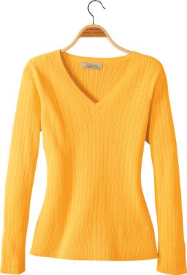 Cozy, sweater-knit cable with classic V-neck style. Rib-knit collar, cuffs and sweep complete the look. Made of 100% cotton for a soft, familiar feel. Machine washable. Imported.Sizes: S-2XL.Colors: Wheat, Baja Blue, Sand Castle, Lotus Pink. - $39.99