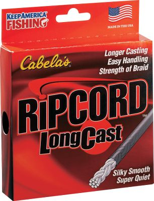 Fishing Cabelas braided line goes the distance! Exciting new line up of RipCord! All of the handling of monofilament with the performance of braid, RipCord LongCast works like a champ for both spinning and baitcast reels. The smooth exterior allows for effortless casts, while maintaining a perfectly round cross section. The inner core is fused through a unique process that completely encapsulates the Spectra braid. The result is a smooth-casting line that can handle itself in a fight. Easy handling, small diameter, low stretch, high strength, RipCord LongCast delivers it all. Made in USA. Sizes: 6, 10, 12, 20. Available: 125 yds., 300 yds. Color: Smoke. - We feel so confident in our fishing lines that we make, in this day and age, a very unusual offer. We invite you to field test any of our Cabelas line for a period of 60 days. Compare them to any other line regardless of price. If you are not 100% satisfied, return them for a full refund, no questions asked. Size: 300 YD. Color: Smoke. - $6.88