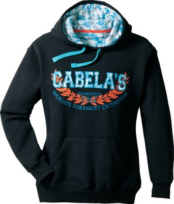 Bright, bold colors paired with a complementary, patterned Cabelas logo make this varsity hoodie even more enjoyable to show off. Ribbed cuffs and hem provide the perfect fit to keep warmth in and cold out. Kangaroo pocket. 60/40 cotton/polyester hood lining matches the print of the Cabelas logo. 80/20 cotton/polyester knit fleece. Imported.Center back length for size Medium: 26.5.Sizes: S-2XL.Colors: Plumtastic/Crisp Purple, Black/Glacier Bay Digi Camo, Black, Charcoal Heather, Mountain Rose, White. Type: Hoodies. Size: Small. Color: Black. Size Small. Color Black. - $24.88