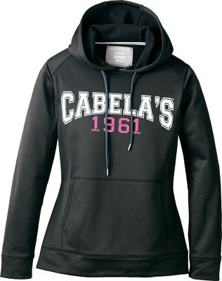 Get in the game with this anti-pilling 100% polyester fleece hoodie featuring a collegiate-style Cabelas logo on the front. Midweight fabric is brushed inside for warmth and wicks moisture away to keep you dry and comfortable. The hood with contrast drawcord, kangaroo pocket, underarm gussets, self-fabric cuffs and waistband, and tagless neck add to the comfort and kick-back style. Imported. Center back length: 27. Sizes: S-2XL. Colors: White/Crisp Purple, Posey Pink/Berry Sorbet, Black/Neon Red, Storm Teal/White, Black/Cyan Blue, Berry Gelato, Frozen Pistachio, White/Mountain Rose. Size: Small. Color: Black/Neon Red. Gender: Female. Age Group: Adult. Material: Polyester. - $7.88