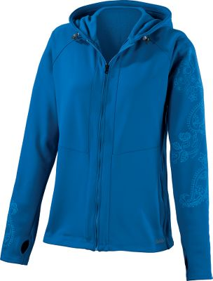 Made with bright contrasting colors, the playful screen-printed paisley detailing on the left arm and right wrist gives this jacket the perfect amount of feminine zip. The active design and four-way-stretch fabric blend keep you drier and more comfortable by quickly wicking moisture away from your skin. Soft brushed-fleece interior carries through to the three-paneled hood that features a contrast shock cord. Thumbholes help keep sleeves in place. Welted handwarmer pockets zip shut. Raglan sleeves. 64% polyester, 31% nylon, 5% spandex jersey. Imported. Center back length: 25.5. Sizes: S-2XL. Colors: Blue Jay, Grayling, White. Size: X-Large. Color: Grayling. Gender: Female. Age Group: Adult. Pattern: Paisley. Material: Polyester. Type: Pullovers. - $39.88