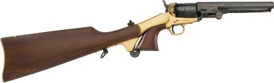 Guns and Military Convert your black-powder Pietta 1851 Navy Model revolver into a compact carbine with a removable shoulder stock to steady your aim. Crafted of fine walnut wood, it features a brass buttplate and mount. Pistol sold separately. - $199.88