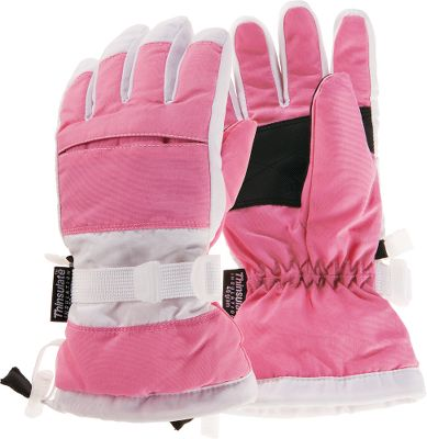Ski Durable tusser shells, waterproof barriers and Thinsulate Insulation make these girlish gloves ideal for all-around winter wear. Gripper palm patches keep ski poles in hands. Adjustable cuff cinches lock snow out. Quick-release wrist straps create a snug fit. One size fits most. Imported.Color: Pink/White. - $14.88