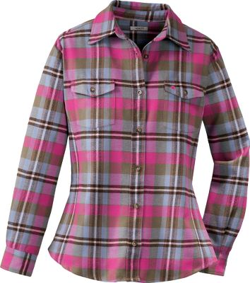 Add warmth to your daily routine with Carhartt's version of the traditional cotton flannel shirt. Two chest pockets with spade-shaped flaps and button closures. Three-button cuffs. Princess seaming for a better fit. 5.5-oz. ringspun cotton flannel. Imported. Sizes: S-2XL. Colors: French Blue, Lavender Ice, Blue Frost, Wild Plum, Glass Blue, Mulberry, Hot Pink, Scarlet. Carhartt Style No.: WS007. - $24.88