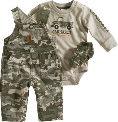 Its never too early to introduce your little guy to the comfort and durability of Carhartt clothing. This ensemble includes a long-sleeved body shirt crafted of soft 100% cotton jersey fabric with snaps on the shoulder and crotch. It has a screen print on the front and woven label on the sleeve. You also receive printed camouflage coveralls with adjustable shoulder strap and leg snaps. Theyre made of 9-oz. 80/20 cotton/polyester printed fleece and sport embroidery, a leather Carhartt label on the bib and back pocket. And for your babys feet, you get soft, 100% cotton socks. Machine washable. Imported.Sizes: 3 mo., 6 mo., 9 mo.Color: Green Camo.Carhartt Style No.: CG8564. - $37.00