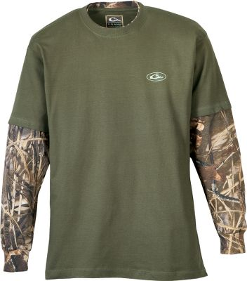 Hunting With two looks in one, this cotton/polyester blend shirt is great for hunting, but also for just wearing around town. It has raglan sleeve construction with camo sleeves and solid-color body. Wear it alone or with a vest. Imported.Sizes: M-2XL.Camo pattern: Realtree MAX-4. - $24.99