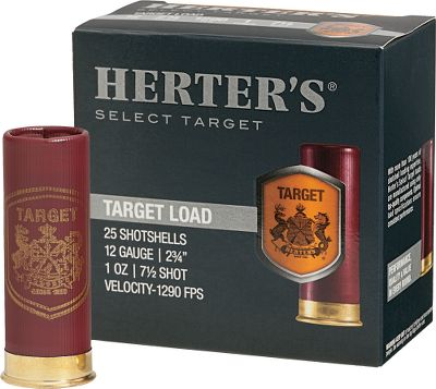 Guns and Military Herters Target shotshells are loaded in Italy to the highest standards in consistency and reliability. Whether you are headed to the range or looking for the perfect load to take to field in search of dove or quail, these loads utilize high-quality powders, shot and hulls to bring you performance you demand at a price you can afford. 25 rounds per box, 10 boxes per case. Type: Lead. - $57.99