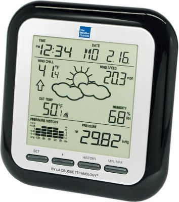 Track temperature, wind and pressure readings in a 12-hour graph with your own weather center. A wireless thermo-hygro sensor transmits information up to 330 ft. within seconds to the base unit. Stores up to 140 historical sets of data gathered in three-hour intervals. Storm alarm warns of approaching weather. Data collected includes wind speed and gusts, wind chill, minimum/maximum dew point, minimum/maximum outdoor temperature and humidity, indoor temperature, barometric pressure and forecast with icons and tendency arrows. 12/24-hour time display with calendar and alarms. Uses five AA batteries (not included).Receiver dimensions: 5.33H x 5.56W x 1.1D. - $34.88