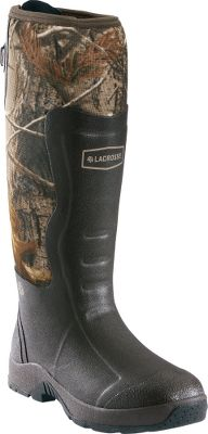 Hunting This line is an expansion of the ever-popular Alpha Light Series Rubber Boots with a more affordable price tag. The 100% waterproof rubber boots keep you mobile in dry, wet and muddy conditions any time of year. Their lightweight, self-cleaning outsoles have shallow, aggressive lugs that are everything but a stick in the mud. Rubber cup outsoles add durable, ground-gripping traction that wiggles its way out of anything. Brushed nylon exterior and shin protection panels add a measure of scent control and puncture resistance. LaCrosse Ankle-Fit technology stretches for easy on and off over pants and offers a secure fit for insulating performance. Built-in odor-reducing antimicrobial linings with breathability for cooling foot relief. Sponge rubber midsoles are built into the outsoles for added underfoot comfort. Removable EVA footbeds. Rear gussets accommodate varying leg sizes. 7mm neoprene. Imported.Height: 18.Mens whole sizes: 8-13.Camo pattern: Realtree AP. - $114.88