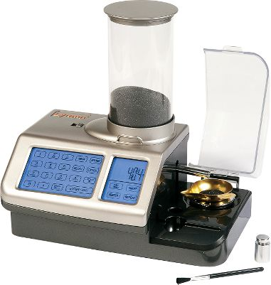 All-in-one system boasts a powder scale and dispenser with user-friendly touch-screen technology. Quickly dispenses two grains of powder per second with +/- 0.1-grain accuracy. Compatible with all types of smokeless powder. Auto-repeat function speeds up the process by dropping charges each time the pan is reset. Stores up to 100 of your favorite loads and recall them by cartridge, powder or weight. Powder type is preprogrammed, so calibration is unnecessary. 7000 gr. hopper capacity. Quick-drain system for easily changing powder. Anti-static technology. Universal 115/230-volt adapter. - $239.99