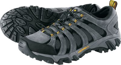 Camp and Hike Fast-moving hikers with a low-cut fit. They feature breathable, moisture-wicking mesh uppers with a nubuck-reinforced frame for increased lateral stability. Elastic cord-locked lacing delivers a secure, custom fit. Shock-absorbing Merrell air cushion heels offer improved comfort and stability. Traction-focused Vibram Geomorph outsoles with extra-grippy TC5+ rubber. Removable EVAfootbeds for extra cushioning. Treated with Aegis antimicrobial solution for long-lasting freshness. Imported.Average weight: 1.9 lbs./pair.Mens sizes: 7-15 medium width. Half sizes to 12.Color: Castle Rock. Type: Hikers. Size: 11. Shoe Width: D. Color: Castle Rock. Size 11. Width D. Color Castle Rock. - $69.88