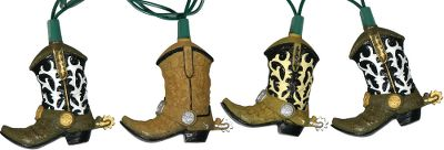 Kick up your heels and make any holiday gathering a good time with these festive, Western-styled cowboy boot lights. Each 10-ft. strand features 10 boots. Set includes two extra bulbs. Weather-resistant for indoor and outdoor use. Connectable end-to-end. Imported. Boot dimensions: 3H x 2-1/2W. Gender: Male. Age Group: Kids. - $19.99