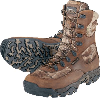 Hunting Insulated, waterproof Rocky boots deliver the weather-blocking protection you need to hunt in a variety of conditions. A layer of 800-gram Thinsulate Ultra Insulation ensures warmth without excess weight. Full-grain nubuck and 900-denier nylon uppers ensure long-wearing durability. Shock-absorbing EVA midsoles, removable footbeds and padded tongues and collars combine for all-day comfort. Aggressive all-terrain Lynx outsoles have deep lugs for mud-gripping traction. Imported.Height: 8.Average weight: 3.5 lbs./pair.Mens sizes: 8-13 medium width. Half sizes to 12.Camo pattern: Realtree AP. - $99.88