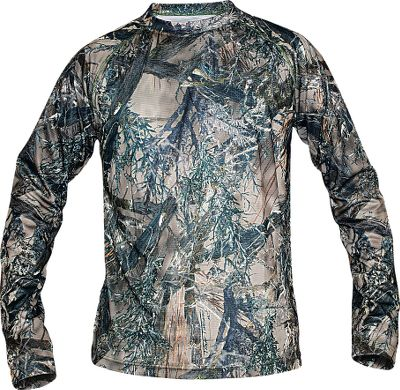 Hunting Made for comfort in warm-weather hunting conditions, it features soft, moisture-wicking 100% polyester construction and a nonrestrictive fit for exceptional in-the-field mobility. MicroSilver Crystal Technology reduces odor-causing bacteria, extends freshness between washes and eliminates static. Nonabrasive flatlock seams. Raglan sleeves and a drop-tail design. Imported. Sizes: M-2XL.Camo patterns: True Timber MC2 , True Timber XD3. - $9.88