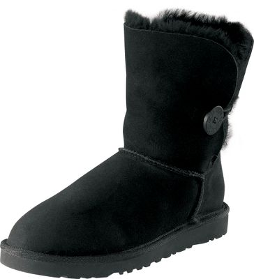 Calf-height boots made from genuine twin-face sheepskin. Upper cuffs have a natural curl, making each pair uniquely yours. Elastic band closures wrap from midankle to the wooden button. Soft-foam insoles are covered with moisture-wicking, genuine sheepskin. Light, flexible EVA outsoles give you comfort with every step. Twin-faced Grade-A sheepskin with suede heel guards. Imported. Approximate shaft height: 7. Approximate circumference: 13. Womens whole sizes: 6-10 medium width. Colors: Chestnut, Black. Size: 8. Color: Brown. Gender: Female. Age Group: Adult. Material: Suede. Type: Boots. - $117.99
