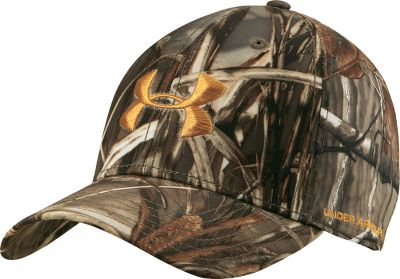 Hunting Show your outdoor passion with this adjustable-band camouflage cap sporting the popular Under Armour logo. The moisture-resistant HeatGear sweatband keeps you dry. Constructed of 100% polyester. One size fits most. Imported. Camo patterns: Mossy Oak Break-Up Infinity, Mossy Oak Duck Blind, Realtree MAX-1, Realtree AP (not shown). - $23.99