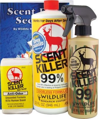 Hunting Spray Scent Killer on your clothes to help prevent human odor from forming a detectable gas. It works all day long. Made with a special non-scent formula and biodegradable, Scent Killer Bar Soap washes human odor off your body. As a bonus, you'll receive the Wildlife Research Center's Hunting Scent Book FREE.Combo includes: Quart of Scent Killer with FREE 12-oz. spray bottle and 5-oz. bar soap. - $17.99