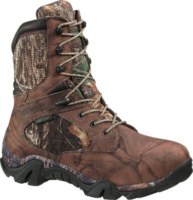 Hunting Rugged and ready for action, these boots are built to hunt in extreme conditions. The uppers are crafted of waterproof full-grain leather and rugged Cordura nylon with 100 waterproof and breathable GORE-TEX linings. 800-gram Thinsulate Ultra Insulation will keep your feet warm when temperatures tumble. Comfort and support features include removable full-cushion insoles, compression-molded EVA foam midsoles with camo wraps and lightweight nylon shanks. Rubber lug outsoles deliver excellent traction on varied terrain. Imported. Men's sizes: 9-13 medium and extra wide. Half sizes to 12.Camo pattern: Mossy Oak Break-Up. Type: Insulated Hunting Boots. Size: 11. Shoe Width: D. Color: Mossy Oak Break-up. Size 11. Width Medium. Color Mossy Oak Break-Up. - $89.88