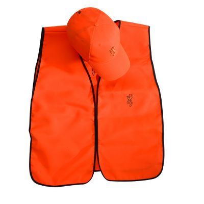 Hunting A blaze orange vest and cap combo to enhance your visibility for safety during hunting seasons. The vest fits most sizes, thanks to size-adjustable tabs, and has a Velcro front closure. It sports the Browning Buckmark logo on front and back. The matching ball cap also displays a Buckmark logo and is outfitted with a pre-formed bill and adjustable hook-and-loop closure in back. Both are one size fits most. 100% polyester. Imported. - $12.88