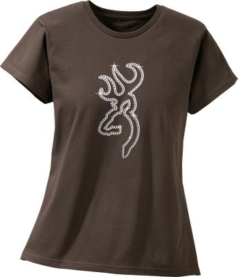 Hunting The Browning logo is emblazoned with rhinestones on this classic-fitting tee, letting everyone know youre a Browning girl. 6.1-oz. cotton. Machine washable. Imported.Sizes: S-2XL.Color: Chocolate. - $12.88