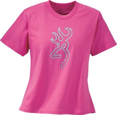 Hunting The Browning logo is emblazoned with rhinestones on this fitted tee thats cut to fit and flatter the shape of a womans body. Let everyone know youre a Browning girl! 6.1-oz. cotton. Machine washable. Imported.Center back length for size M: 26.Sizes: S-2XL.Color: Fuschia. - $12.88