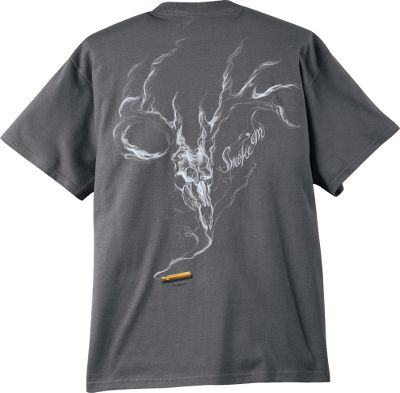 Hunting The Buck Wear Mens Smoke Skull Short-Sleeve Tee Shirt is crafted for those with an appreciation of the hunting lifestyle. Screen-printed graphics on the front and back. 100% preshrunk heavyweight cotton. Machine washable. Imported. Sizes: M-2XL. Colors: Charcoal, Black. Size: LARGE. Color: Black. Gender: Male. Age Group: Adult. Material: Cotton. - $19.99