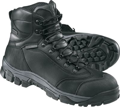 "Camp and Hike This lightweight, comfortable, composite safety-toe work boot is waterproof and has a built-in scent-reducing system. Though this boot has all of the features needed on a busy job site, it doesn't look or feel like a traditional work boot. The Cabela's Ledger Work Hiker is constructed of full-grain leather with a waterproof Dry-Plus barrier and padded-mesh uppers for breathability and comfort. The moisture-wicking lining keeps your feet dry and warm. The midsole is constructed with a comfortable EVA footbed, nylon plate on the outside for stability and a composite shank inside for protection. The Ledger also has a tough nonmarking rubber outsole.Height: 7"". Average weight: 3.2 lbs./pair. Men's sizes: 8-14 D and EE widths. Half sizes to 12. Colors: Coffee, Black. - $49.88"