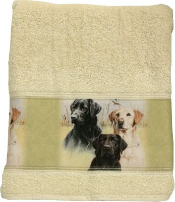 "Entertainment Yellow, Chocolate, Black they are all here in heartwarming color! Regardless of your Labrador-retriever preference, it will add a splash of fun to any bathroom. 100% cotton. Made in USA. Dimensions: 27""W x 50""L. - $13.88"