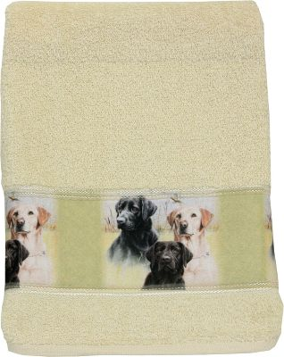 "Entertainment Yellow, Chocolate, Black they are all here in heartwarming color! Regardless of your Labrador-retriever preference, it will add a splash of fun to any bathroom. 100% cotton. Made in USA.Dimensions: 16""W x 26""L. - $7.88"