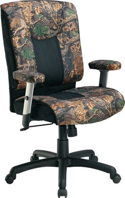 Entertainment This height-adjustable chair extends to an impressive 45 high for all-day comfort and support. Its upholstered with black microfiber and Seclusion 3D camo. Padded, height-adjustable armrests. Adjustable swivel/tilt mechanism with lockout. 100/195/30mm stroke gas lift with three-tier telescoping cover. Heavy-duty nylon base with dual casters. Some assembly required. Imported.Dimensions: 41-1/2-45H x 28W x 26D.Camo pattern: Seclusion 3D. - $99.88