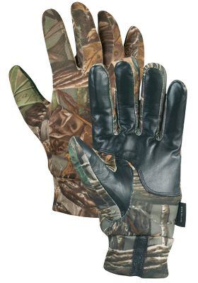 Hunting Cover your hands for total concealment and protection from the elements without losing the dexterity and feel needed for accurate shooting. The Real Feel Super Stretch knit conforms to the contours of your hand, so you hardly know you're wearing any gloves at all. GORE-TEX linings for 100% waterproof protection. 80-gram Thinsulate Insulation for warmth without bulk. Imported. Sizes: S-2XL.Camo patterns: Seclusion 3D , Realtree MAX-4 , Realtree AP , Mossy Oak Break-Up Infinity . - $29.88