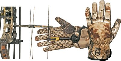 Hunting An exclusive bow-release collar in these gloves lets hunters wear their favorite release next to the skin while still protecting hands from the elements. Bowhunters know that wind, rain, snow and cold can stress hands and degrade grip strength, especially when holding at full draw and waiting for the right moment to release. The Ranger Gloves feature four-way stretch fabric with grip-dot palms. Imported.Sizes: M-XL. Camo patterns: Mossy Oak New Break-Up , Realtree AP . - $9.88