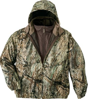 Hunting A great deal for any waterfowler, this 3-in-1 jacket offers all-season versatility and the feature-packed performance of much more expensive coats. The waterproof, breathable shell is seam-sealed and made of soft, super-quiet microbrushed polyester tricot for high-wear durability. The action-cut shell also offers freedom of movement and room for layering, and it features storm-flap-covered handwarmer pockets, a stowable hood, self-adjusting elastic cuffs and a draft-sealing elastic hem. The heat-trapping zip-in liner jacket features body-mapped polyfill insulation that delivers high-loft warmth while maintaining a full range of motion. It also has a polyester shell with a water-resistant finish, easy-access handwarmer pockets and an adjustable, cord-locked hem for preventing heat loss. Imported.Sizes: M-2XL.Camo pattern: Mossy Oak Duck Blind. - $44.88