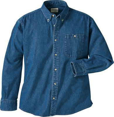 Hunting Updated for more comfort with lighter weight cotton denim, the revised version of this shirt keeps its classic appeal without sacrificing durability. Single chest pocket with pencil slot. Button-down collar. Imported.Sizes: S-3XL. Color: Bleached Indigo. - $12.88