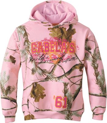 Hunting Screen-printed graphics and logo appliqus combine with cotton/polyester fleece construction for rugged, college-inspired looks and warm, next-to-skin comfort. Rib-knit collar, cuffs and hem deliver long-wearing durability. Kangaroo handwarmer pocket. 60/40 cotton/polyester. Machine washable. Imported.Sizes: XS-XL.Color/Camo Pattern: Realtree APC (Pink)/Bubblegum, Green Urban Camo,Realtree APC (Pink), WWII Camo/Panama Orange. - $19.88