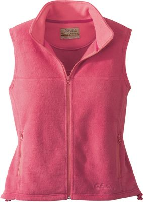 An affordable vest with chill-warding style. Zipper extends all the way up the stand-up collar. 100% polyester fleece. Zip-up handwarmer pockets. Adjustable hem. Embroidered Cabela's logo. Machine washable. Imported.Sizes: S-2XL.Colors: Begonia, Cedar Green, Vintage Grape, Black. - $12.88
