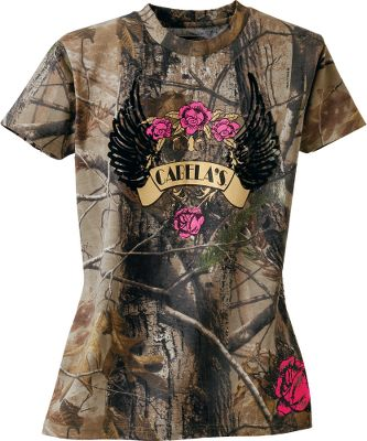 Hunting Show your love of fashion and the outdoors wearing this logo tee in popular Realtree camouflage. The lightweight jersey fabric makes it a comfortable choice for everyday wear. 60/40 cotton/polyester. Imported.Sizes: S-2XL.Camo pattern: Realtree AP. - $19.99