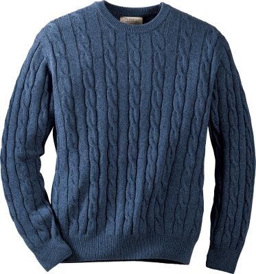Styled in the classic traditions of the Old World, this handsome cable sweater brings warmth and easy layering to your everyday routine. Elastic yarn stabilizes the rib-knit collar, cuffs and hem, helping them to keep their shape. Relaxed body. 100% cotton sweater knit. Machine washable. Imported. Sizes: M-2XL.Colors: Blue, Rust, Tan, Spruce. - $19.88